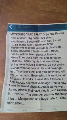Mosquito Repellent Yard Spray Cant hurt to try it. And the grass will love the beer and Epsom salt