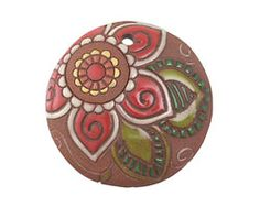 Good design for earring. Golem Studio Red Paisley Flower Carved Ceramic Circle Pendant 39mm