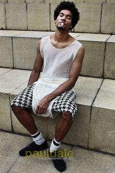 """Nottingham based fashion brand GUARDEN. """"Love Sushi"""" S/S 13 Collection. Sheer White Ridged Vest w/ Onigiri Checkered Harem Shorts. Modeled by Ben Humphries."""