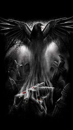New Ideas Wallpaper Dark Skull Fantasy Mädchen Tattoo, Dark Tattoo, Raven Tattoo, Crow Art, Raven Art, Dark Gothic Art, Dark Fantasy Art, Grim Reaper Art, Beautiful Dark Art