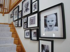 Stairwell photo frame ideas. I need to add frames to my stairwell and needed layout ideas. Stairwells can be tricky. Stairwell Pictures, Stairway Photos, Wall Photos, Photo Frame Layout, Picture Layouts, Picture Ideas, Photo Ideas, Paint Colors For Home, House Colors
