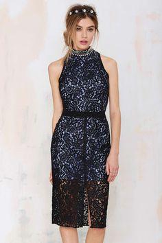Midnight Walk Lace Midi Dress