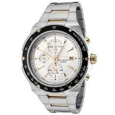 Seiko Men's SNAD84 Chronograph Silver Dial Two-Tone Stainless Steel Alarm Watch Seiko. $179.46. Water-resistant to 330 feet (100 M). Precise Japanese-quartz movement. Chronograph functions with 60 second, 60 minute and 12 hour subdials; date function. Silver dial with luminous gold-tone hands and hour markers; gold-tone subdial hands; 12-hour alarm function; tachymeter scale engraved on black bezel. Durable mineral hardlex crystal; brushed and polished two-tone s...