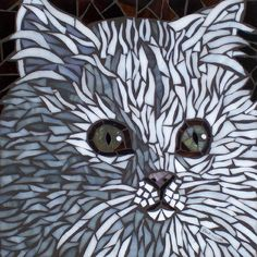 I love this cat mosaic -- click thru for another dozen gorgeous cat mosaics
