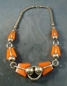 04158b0935d5 Details about Great 1930s Deco Bakelite   Silvertone Necklace Great Orange Color  Deco Era