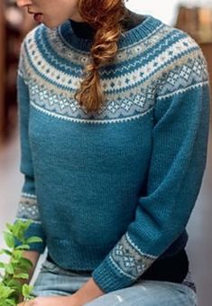 Fair Isle Knitting Patterns, Fair Isle Pattern, Knit Patterns, Casual Sweaters, Vintage Sweaters, Icelandic Sweaters, Long Sleeve Turtleneck, Knit Crochet, Nightgown