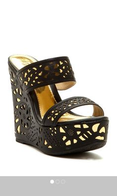 Black and gold leather cut out wedges