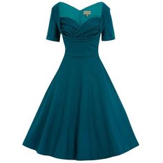 'Sloane' Teal Swing Dress ($54) ❤ liked on Polyvore featuring dresses, turquoise, blue skater skirt, ruched dress, flared skirt, trapeze dress and teal skater skirt
