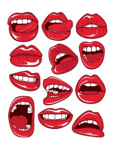 Jaw-Dropping Vectors from Designious: Collection - Inkydeals Cartoon Drawings, Art Drawings, Collage Art, Collages, Lips Illustration, Pop Art, Arte Pop, Art Inspo, Vector Art