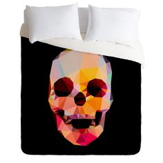 Three Of The Possessed Skull Sunrise Duvet Cover | DENY Designs Home Accessories