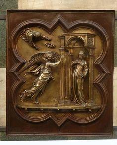 Lorenzo Ghiberti, Annunciazione -Porta Nord del Battistero (dopo il restauro, ultimato nel 2015), Firenze, Museo dell'Opera del Duomo