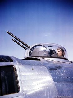 Top turret gunner on a B-24 of the 8th Air Force in England
