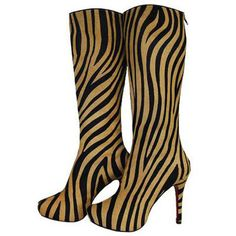 Christian Louboutin Babel Zebra Tall Boots Black/Gold $236.90