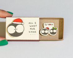 Romantic Christmas Card/ Adult Holiday Greeting Card/ Love Christmas Matchbox