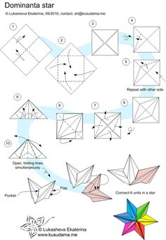 origami dominanta star, instructions, origami, paper folding and star Mais Origami Star Instructions, Easy Origami Star, Instruções Origami, Origami Paper Folding, Kids Origami, Origami And Kirigami, Money Origami, Origami Dragon, Modular Origami
