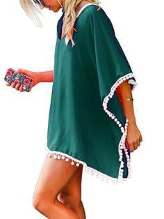 b203a49c1abc6 Lelinta - Women Chiffon Tassel Bohemian Swim Cover Ups Bikini Tunic Beach  Dress Summer Casual Shirt Dress Irrgular Hems Boho Style Poncho Swimsuit  Beach ...