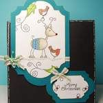 carolines christmas - caroline (1) - new stamps from Inky Doodles. I like the idea of using 2 frames on a card, and having one off the card base.