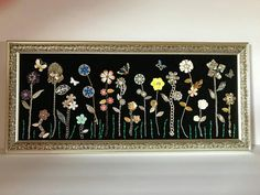"""Karen Parker , Jewelry Art """"Flowers"""" This beautiful piece contains vintage and new jewelry, including gemstones, beads and more. Costume Jewelry Crafts, Vintage Jewelry Crafts, Recycled Jewelry, Jewelry Frames, Jewelry Tree, Diy Jewelry, Jewelry Box, Cheap Jewelry, Jewelry Making"""