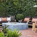 Urrutia Design - decks/patios - Concrete Firepit, Fire Pit, Plants, Daybed, Wood Stump, Ceramic Pot, Pottery, Brick Patio, Pillows, Teak Furniture, , Ranch House, Ranch Home, California Ranch,