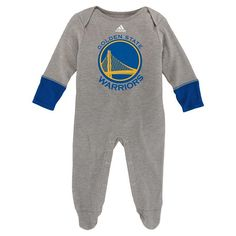 Baby Adidas Golden State Warriors Footed Bodysuit, Grey
