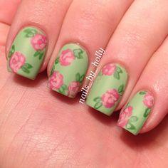 matte floral nails