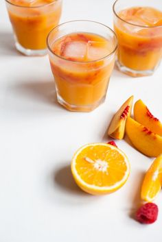 Morning Sunrise – Orange, Peach and Raspberry Juice / See and Savour