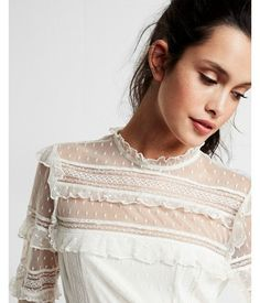 Pieced Lace Long Sleeve Blouse by: Express @Express