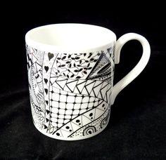 Zentangle china mug  black and white bone china by KilnFiredArt, £8.00