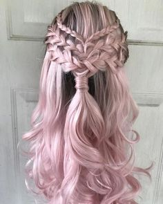 cool hairstyles - Lace Frontal Wigs Pink Blonde Hair With Pink Roots For Women Pretty Hairstyles, Braided Hairstyles, Prom Hairstyles, Hairstyle Ideas, Mermaid Hairstyles, Hairstyles Games, Bohemian Hairstyles, Pink Blonde Hair, Blonde Brunette