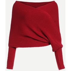 Red Off The Shoulder Cross Wrap Sweater (88 ILS) ❤ liked on Polyvore featuring tops, sweaters, long wrap sweater, wrap sweater, wrap top, red jumper and long red sweater