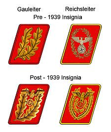 The rank insignia for Gauleiter and Reichsleiter, before and after the 1939 insignia change Ranks and insignia of the Nazi Party - Wikipedia, the free encyclopedia