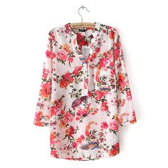 2016 Spring new style women fashion flower print three quarter sleeves shirt, ladies elegant casual v-neck chiffon blouse tops