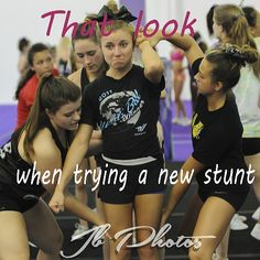 All-Star Cheerleading HAHAHA! This is me every time we do new stunt! Cheer Tryouts, Cheer Coaches, Cheer Stunts, Cheer Dance, Cheer Athletics, All Star Cheer, Cheer Mom, Cheer Qoutes, Cheer Sayings