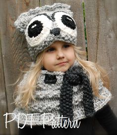 Knitting PATTERN-The Oxford Owl Set (Toddler, Child and Adult sizes)