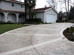 Stamped Stained Driveway Concrete Driveways Alexander and Sons Inc San Jose, CA Stamped Concrete Driveway, Concrete Driveways, Walkways, Outdoor Fireplace Patio, Brick Border, Driveway Gate, Back Patio, Curb Appeal, Photo Galleries