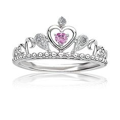 Princess Tiara Diamond & Pink Gemstone Ring in Sterling Silver