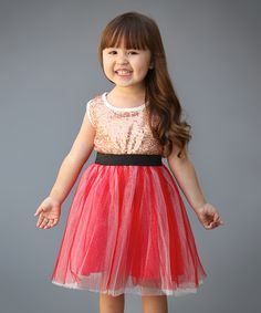 This Just Couture Gold Sequin & Red Tank Dress - Infant & Kids by Just Couture is perfect! #zulilyfinds