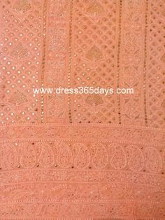 Buy Pure Georgette Peach Colour Shirt and Dupatta with Mukaish/ Badla Work(Two Piece) $155