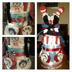 Dr. Seuss Thing one and Thing two: Twins baby shower diaper cake