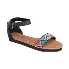 TOP MODA Black Tribal Lili Sandal ($7.79) ❤ liked on Polyvore featuring shoes, sandals, black sandals, tribal shoes, lily shoes, lily sandals and kohl shoes