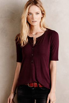 Love the color and silhouette of this Half-Sleeve Henley Pretty Outfits, Fall Outfits, Fashion Outfits, Work Outfits, Anthropologie Clothing, Autumn Winter Fashion, Fall Fashion, Winter Style, Fall Winter