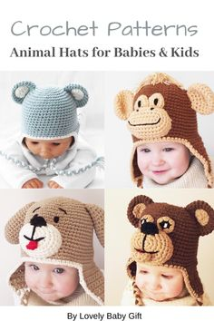 Crochet Patterns to make Animal Hats for Babies and Kids. #crochethatpatterns #lovelybabygift #animalhats Crochet Toys Patterns, Amigurumi Patterns, Baby Patterns, Knitting Patterns, Crochet Ideas, Knitting Projects, Crochet Animal Hats, Knitted Hats, Crochet Hats