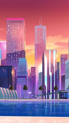 Ideas digital art wallpaper backgrounds design for 2019 City Wallpaper, Wallpaper Backgrounds, Colorful Wallpaper, Iphone Wallpapers, Minimalist Wallpaper, Neon Aesthetic, Violet Aesthetic, Retro Waves, Art Background
