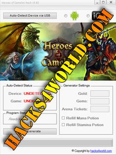 Heroes of Camelot Hack working with iOS and Android download only from: http://hacks4world.com/heroes-of-camelot-hack-android-ios/  Heroes of Camelot Hack Features: Gold generator Gems generator Arena Tickets generator Refill Mana Potion Refill Stamina Potion  Heroes of Camelot Hack working with iOS and Android download only from: http://hacks4world.com/heroes-of-camelot-hack-android-ios/