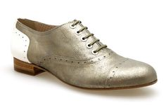 Mocassins lacets PERTINI 9050 Metal Or / Blanc - Chaussures femme