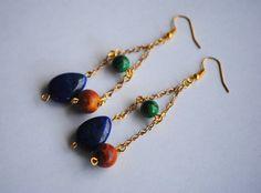 Malachite Jasper Lapis Lazuli Earring | Steven Universe Jasper | Gemstone Ear Cuff | Gemstone Clip On | Green Blue Brown | Elegant Ear Cuff