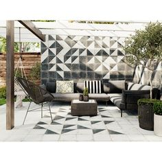 Emser Tile's Rhapsody series juxtaposes an alluring distressed finish with modern design flexibility for indoor and outdoor spaces. Patio Tiles, Outdoor Tiles, Patio Wall, Outdoor Spaces, Outdoor Living, Balcony Tiles, Outdoor Flooring, Inside Pool, Fireplace Facade