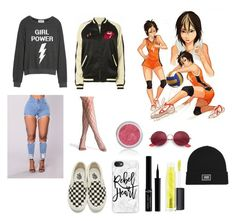 """Female nishinoya"" by cheesecake164 on Polyvore featuring Vans, Dream Scene, Giorgio Armani, MAC Cosmetics, Casetify, Ray-Ban and MadeWorn"