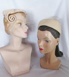 50's 60's Vintage Beige Hat Lot to Restore by MyVintageHatShop