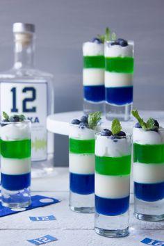 Seahawks Vodka Jello Shots from my friend @pinkpatisserie